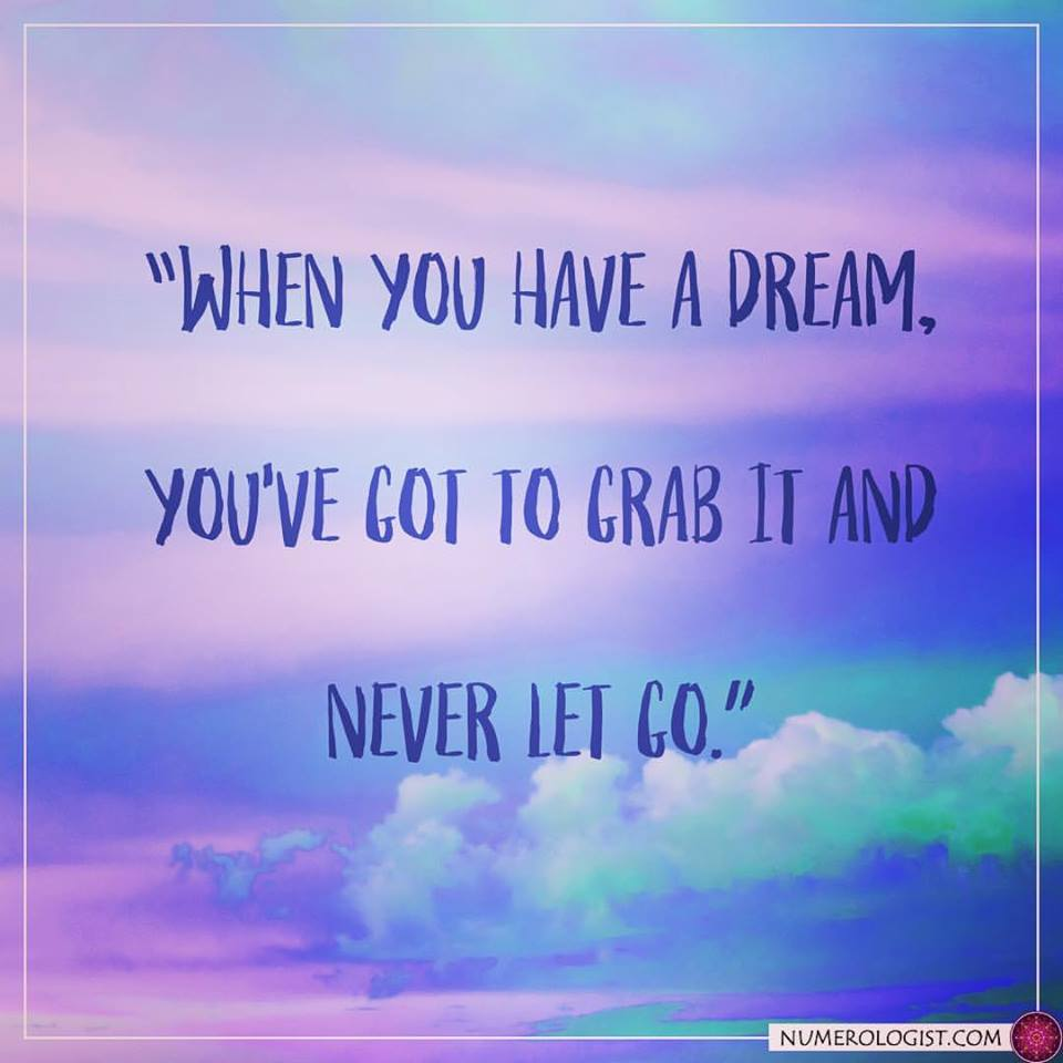 when you have a dream you have to grab it and never let it go